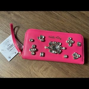HELLO KITTY-NWT Large Pink & Rhinestone Wallet